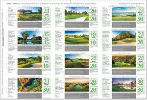 Golfkalender 2022 Rückseite Greenfee Gutscheine